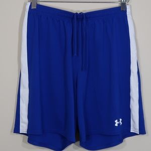Solid Blue with White Stripes Basketball Shorts